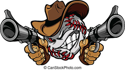 Cartoon image of a Baseball with a face and cowboy hat holding and aiming guns
