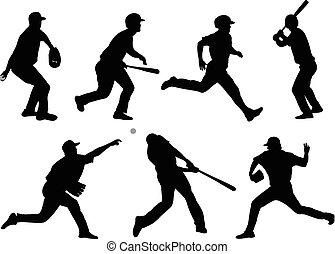 baseball, silhouetten, 5, sammlung