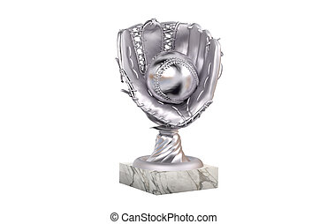 Baseball Silver Trophy with Glove and Ball