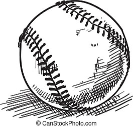 Baseball sketch - Doodle style baseball sports vector...