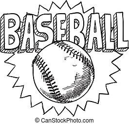 Baseball sketch - Doodle style baseball sports illustration...