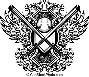 Baseball Bats, Baseball, and Home Plate with Ornate Wing Borders Vector Graphic