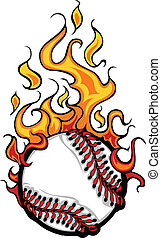 Baseball Softball Flaming Ball Vect
