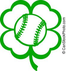 Baseball Softball Four Leaf Clover
