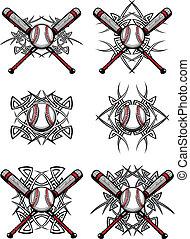baseball, softball, stammes-, grafik, je