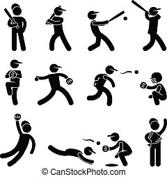 Baseball Softball Swing Pitcher - A set of pictogram...