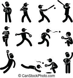 Baseball Softball Swing Pitcher - A set of pictogram...