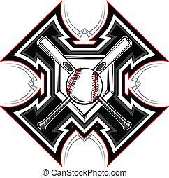 baseball, softboll, slagträ, grafisk, vect