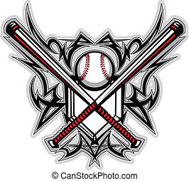 baseball, softboll, slagträ, stam, graf
