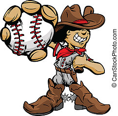 baseball- spieler, cowboy, karikatur, kind