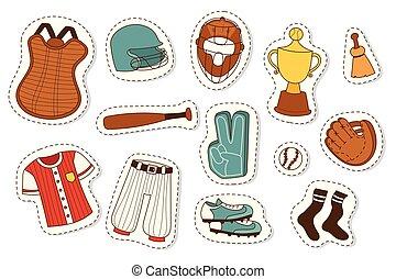 Baseball sport competition game team symbol softball play cartoon icons design sporting equipment vector illustration