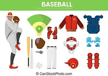 Baseball sport equipment bat-and-ball game player garment accessory vector icons set