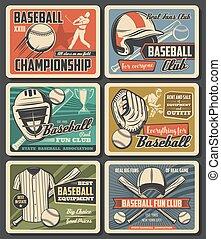 Baseball sport equipment, vintage cards