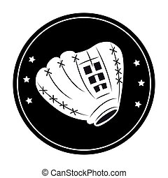 baseball sport glove emblem icon