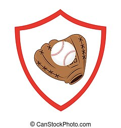 baseball, sport, guanto, emblema, icona