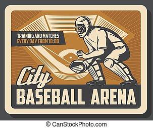 Baseball sport retro poster with catcher in helmet - Sport...