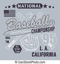 Baseball sport typography, t-shirt