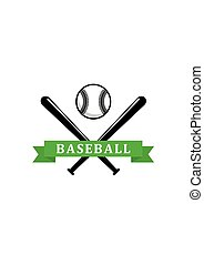 Baseball sporting emblem or badges with crossed bats