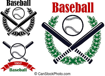 Baseball sporting emblems or symbols with ball, bats and...