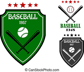 Baseball sporting emblems with shield, bats, ball and stars...