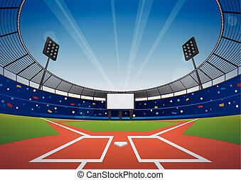 Baseball stadium background - Baseball field with bright ...