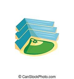 Baseball stadium icon, cartoon style