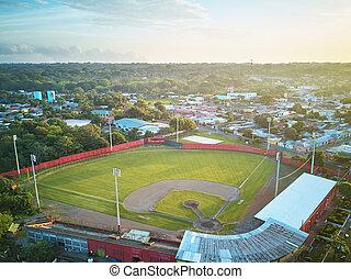 Baseball stadium in morning light