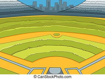 Baseball Stadium. Vector Cartoon Background. EPS 10.