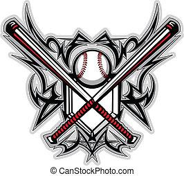 baseball, stam, softboll, slagträ, graf