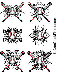 baseball, stammes-, grafik, je, softball
