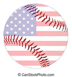 Baseball Stars And Stripes - A new white baseball with red...