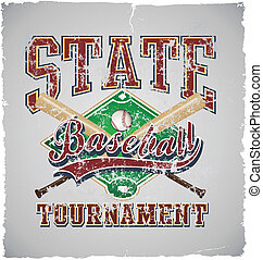 baseball State tournament - crack illustration for shirt...