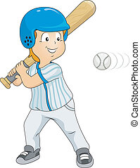 Baseball Strike - Illustration of a Boy Dressed in Baseball...