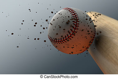 Baseball Striking Bat In Slow Motion - An extreme closeup...