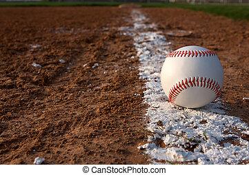 baseball, su, il, gesso, linea