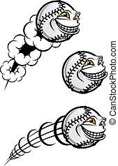 Baseball symbol - Flying funny baseball ball isolated on...