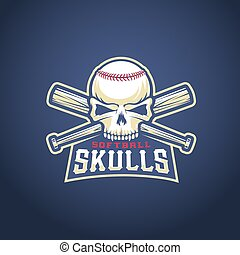 Baseball Team Logo Template. Skull and Crossed Bats Sign. Softball Head Concept. Sport Emblem with Premium Typography.