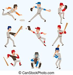 Baseball team players vector sport man in uniform game poses baseball poses situation professional league sporty character winner illustration boy competition adult athlete person
