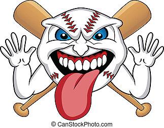 baseball, tecknad film, ansikte