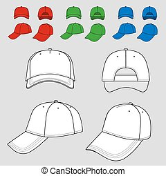 Baseball, tennis cap outlined - Baseball, tennis cap colored...