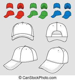 Baseball, tennis cap outlined - Baseball, tennis cap colored...