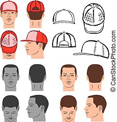 Baseball, tennis, rap cap and man head set