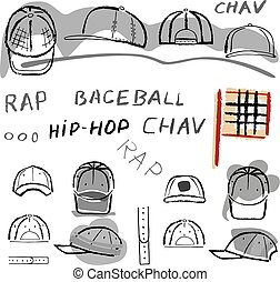 Baseball, tennis, rap cap chav set