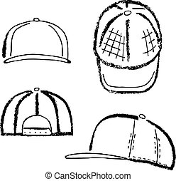 Baseball, tennis, rap cap outlined template