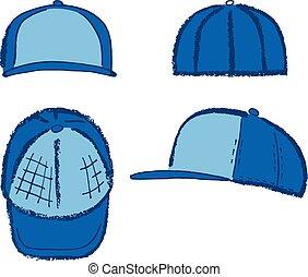 Baseball, tennis, rap cap outlined template