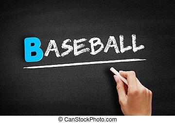 Baseball text on blackboard