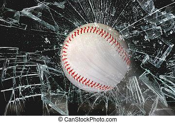 Baseball through glass.