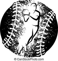 Baseball Throw over a Grunge Baseba - Black and white vector...