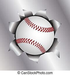 baseball thru metal sheet