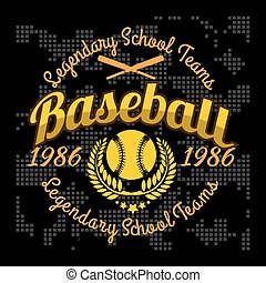 Baseball tournament vector emblem for t-shirt on dark...